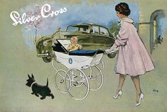 mother and baby, Silver Cross pram advertisement, Vintage Pram, Vintage Love, Vintage Advertisements, Vintage Ads, Illustrations, Illustration Art, Silver Cross Prams, Images Vintage, Baby Buggy