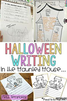 "Check out this FREE Halloween haunted house writing lesson for primary teachers called ""In the Haunted House""! Kids will have fun creating spooky sentences, learning Halloween vocabulary using their senses and positional words, and will get creative with this activity. #halloween #halloweenactivities #hauntedhouse #kidwriting"