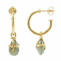 "Labradorite Teardrop Hoop Earrings in 18k Gold Vermeil The Black Bow. $240.00. 3/4"" hoop, 1 1/4"" total length. 8x13mm faceted labradorite, 8.5 cttw. Average weight 5.27 grams. Crafted from 18k gold vermeil"