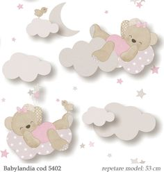 Tapet lavabil model cu ursuleti roz pentru camera fetita