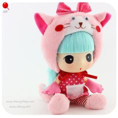 Collection DDUNG Doll  Pink Cat ddung Doll Kids Toy Children Girl Gift Doll