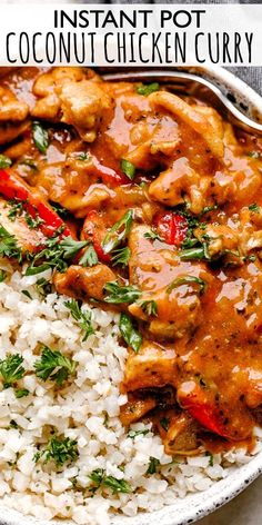 This Instant Pot Coconut Chicken Curry tastes amazing! It& also quick and easy enough to make on a weeknight. Creamy coconut milk, chicken, vegetables, and spices come together to make a delicious curry that is absolutely delicious! Coconut Curry Chicken, Easy Chicken Curry, Baked Chicken, Oven Chicken, Boneless Chicken, Chicken Vegetable Curry, Coconut Milk Curry, Asian Chicken, Lime Chicken