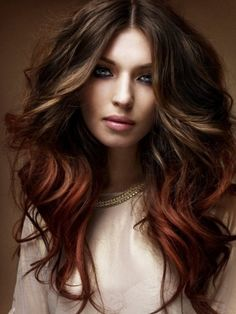 Chocolate brown hair coloring ideas for women for new look . Try these stylish chocolate brown hair colors that you will love a lot. Hot Hair Colors, Ombre Hair Color, Brown Hair Colors, Ombre Style, Red Style, Lip Colors, My Hairstyle, Pretty Hairstyles, Hairstyle Ideas