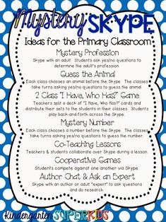 "*Technology Integration* Mystery Skype! {aka the coolest thing ever!} Your students will LOVE skype-ing with students from around the country and state! The ""mystery"" factor makes it even more exciting and ups the levels of thinking!  Here are ideas for using this concept with very young children.  :)"