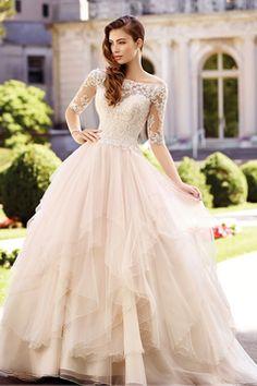 2017 de Tulle del cuello del barco de la boda vestidos de mitad de longitud de las mangas una línea con apliques