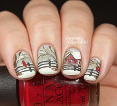 Winter Scene nail art