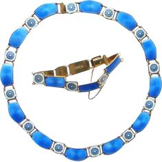 David Andersen Norway Blue Guilloche Enamel Necklace Bracelet Set 925 Sterling Silver Vermeil