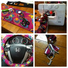 DIY steering wheel cover and tassel for rear view mirror!