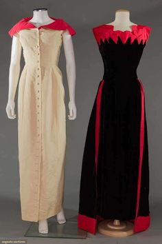 """FONTANA SISTERS' EVENING GOWNS, ROME, 1950s  1 labeled """"Fontana Roma"""": ivory silk faille floor length sheath, lipstick red faille wide collar, CF covered buttons, half belt in back, B 35"""", W 25"""", L 59""""; 1 unlabeled black velvet sheath, train attached at BW, yoke, hem & train lining of same red faille as collar of ivory gown, measurements also identical, (unlined, press marks to velvet)"""