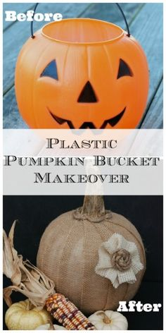 Pumpkin Bucket Makeover {Guest Post Upcycle a dollar store plastic pumpkin bucket into a gorgeous burlap-covered pumpkin!Upcycle a dollar store plastic pumpkin bucket into a gorgeous burlap-covered pumpkin! Recetas Halloween, Adornos Halloween, Plastic Pumpkins, Faux Pumpkins, Burlap Pumpkins, Fabric Pumpkins, Painting Pumpkins, Pumpkin Crafts, Fall Crafts