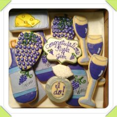 Wine and cheese party themed cookies along with engagement announcement.