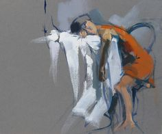 Woman at Table, 2013, 13 x 15 in. Oil on paper. Maggie Siner