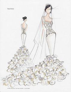 Vera Wang Sketch for Kim Kardashian's Wedding Gown. http://hative.com/30-cool-fashion-sketches/