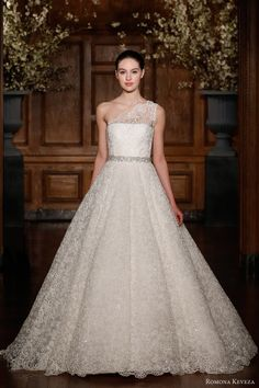 romona keveza spring 2014 bridal collection.  soutache lace one shoulder gown