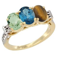 14K Yellow Gold Natural Green Amethyst, London Blue Topaz and Tiger Eye Ring 3-Stone 7x5 mm Oval Diamond Accent, sizes 5 - 10 -- See this awesome image  : Jewelry Ring Bands