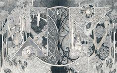 Arkanum, Black book, page 32/33 The Secret Book, The Book, Book Of Kells, Renaissance Paintings, Black Books, Native Art, Klimt, Book Pages, Giclee Print