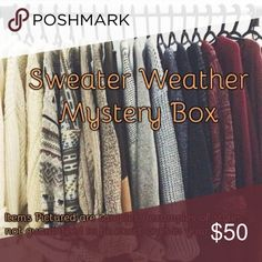 Cold weather mystery box! 5 items for $50 All items in excellent used condition — size M, 4/6, 27/28. Brands include, J. Crew, Ann Taylor, Madewell, Everlane, Paige, LOFT, etc. This box may include - Sweaters, long sleeve shirts, jeans, scarves, boots, etc. Also includes a bunch of free gifts as well :) my mystery boxes do NOT disappoint. Guaranteed to be at or above $200 retail. Comment with your style and I'll find your perfect items!! ☺️ PRICE FIRM  CANNOT BE BUNDLED WITH OTHER ITEMS AS…