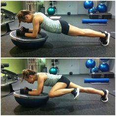 plank with kick on bosu -- when I get more stable with the plank, I'm totally going to add the knee.
