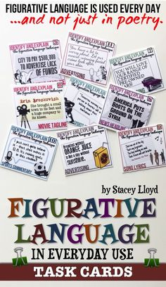 Attractive task cards to help students identify figurative language in everyday use.