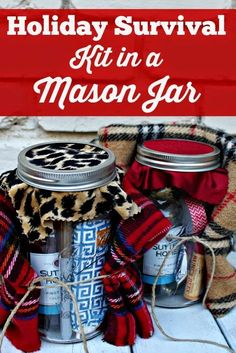 Mason jars seem to be the IT item this season! Holiday Survival Kit in a Mason Jar- Fun idea for a winter girls weekend gift or teacher gift! Mason Jar Christmas Gifts, Mason Jar Gifts, Homemade Christmas, Holiday Gifts, Christmas Crafts, Gift Jars, Christmas Baskets, Homemade Gifts, Diy Gifts