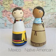Girls of the World Hand-painted Peg Dolls by littlethingsHAPPY