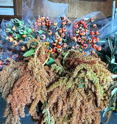 Amaranthus & rose hips for that perfect autumn floral design! Available from Florabundance Wholesale. Amaranthus, Happy Fall Y'all, Indian Summer, Fall Flowers, Christmas Wreaths, Floral Design, Halloween, Holiday Decor, Rose