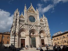 Siena's Duomo was built between 1215 and 1263 and designed in part by Gothic master Nicola Pisano. His son, Giovanni, drew up the plans for the lower half of the facade, begun in 1285. The facade's upper half was added in the 14th century.