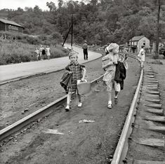"""Coal Country: 1938  West Virginia. """"Mining town. Coming home from school."""""""