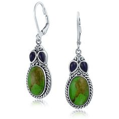 Bling Jewelry 925 Sterling Silver Green Turquoise Lapis Leverback... (80 AUD) ❤ liked on Polyvore featuring jewelry, earrings, green, sterling silver drop earrings, sterling silver earrings, turquoise earrings, long drop earrings and dangle earrings