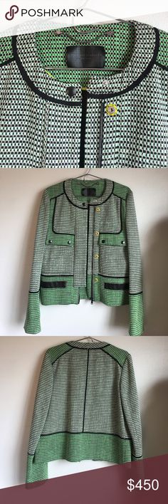 NWOT Proenza Schouler Basket-weave Tweed Jacket 10 NWOT Proenza Schouler Basket-weave Tweed Jacket size 10.  Master a modern aesthetic with this basket-weave tweed jacket by Proenza Schouler.  Mint, green and sand cotton-blend tweed. Black leather and twill trims. Two front flap pockets with snap-fastening. Centre-front zip fastening with snap-buttons. Collarless. Fully lined. 92% Cotton, 8% Polyester. Product measures: Length 55cm / Shoulder 37cm / Bust 94cm / Waist 94cm. Fitted. True to…