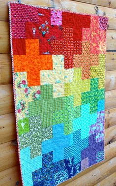 Rainbow Plus Quilt by CoraQuilts~Carla on Flickr.