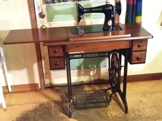 Singer model 66 treadle sewing machine.  This is a real sewing machine, fast and strong.  Make clothes, hats, crafts, upholstery, doll clothes, quilts, or anything else you'd make on a heavy duty sewing machine.