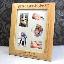 Personalised 10x8 Great Grandchildren Wooden Photo Frame