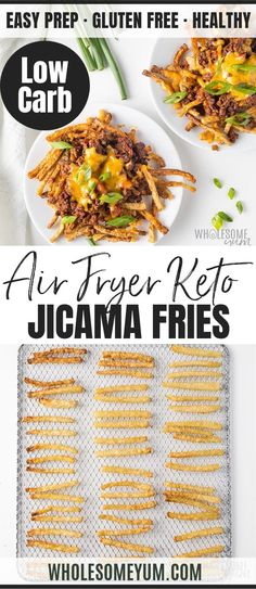 Learn how to make jicama fries in the air fryer! These crispy keto jicama fries are EASY to make. Top them with zesty chili and gooey cheese for a low carb meal. Air Fryer Recipes Wings, Air Fryer Recipes Appetizers, Air Fryer Recipes Vegetarian, Air Fryer Recipes Low Carb, Air Fryer Recipes Breakfast, Air Fry Recipes, Cooking Recipes, Healthy Recipes, Cooking Tips
