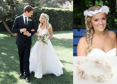'High School Musical' star Ashley Tisdale married Chris French on the 8th September this year, she wore a real circlet of gypsophila. To get a look like Ashley's, see our new floral circlet TR1855A, in Oyster.