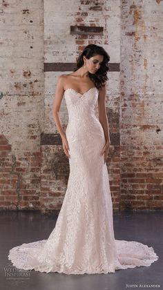 justin alexander spring 2017 bridal strapless sweetheart neckline full embellishment bodice classic elegant fit and flare wedding dress chapel train (9857) mv