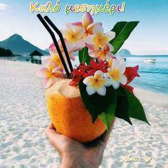 Flowers in tropical drink