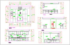 Kitchen room detail plan elevation section view dwg file - Cadbull Dr Kitchen, Hotel Kitchen, Kitchen Units, Kitchen Cabinet Design, Kitchen Interior, Kitchen Elevation, Cupboard Wardrobe, Building Layout, Types Of Architecture