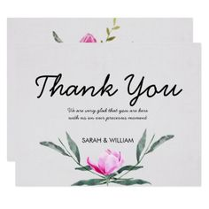 Magnolia Floral Watercolor Wedding Thank You Card - wedding invitations diy cyo special idea personalize card