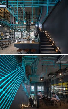 Interior Decor Idea - Turquoise electrical conduit is a design feature running through this co-working office space. design ideas for work Turquoise electrical conduit is a design feature running through this office space Design Hotel, Design Café, Cafe Design, Restaurant Design, Design Styles, Design Ideas, Gym Interior, Office Interior Design, Interior Architecture