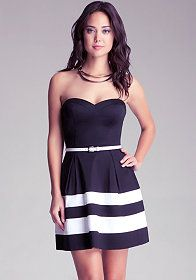 Strapless Colorblock Belted Dress at bebe
