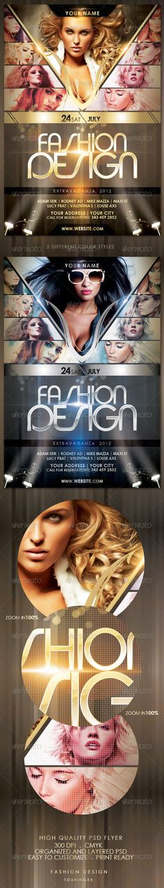 Fashion Design Flyer Template / $6. *** This flyer is perfect for the promotion of Club Parties, Fashion Events, Musicals, Festivals, Concerts or Whatever You Want!. ***