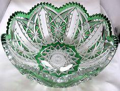 "Antique Brilliant Cut Glass 10"" Bowl"