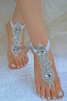 Organza Ivory Barefoot Sandals, Nude Shoes, Foot Jewelry, Wedding, Victorian Lace, Sexy, Yoga, Anklet , Bellydance, Steampunk, Beach Pool