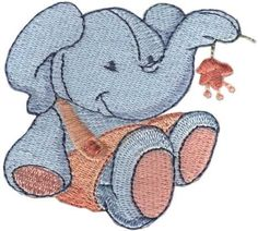 "Elmore Elephant (from Ragdoll Critters) adorably cute baby animals for 4"" hoops. #machineembroidery #embroiderydesigns #animals #babygn"