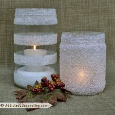 snowy white candle holders made w/modgepodge and epsom salts