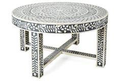 Devin Bone-Inlay Coffee Table, Black