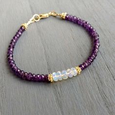handmade beautiful amethyst and opal single stranded bracelet