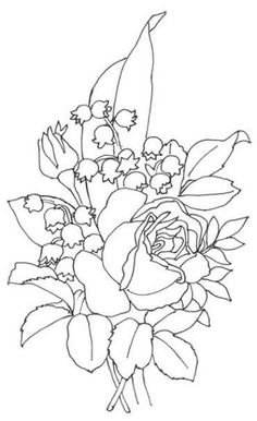 Pergamano šablony - free pattern - Kateřina Horáková - Álbuns da web do Picasa Flower Coloring Pages, Coloring Book Pages, Ribbon Embroidery, Embroidery Patterns, Fabric Painting, Painting & Drawing, Parchment Cards, Lily Of The Valley, Colorful Flowers
