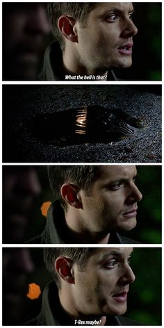 [gifset] 6x22 The Man who Knew Too Much #SPN #Dean - Supernatural Funny - Dean Winchester - Jensen Ackles - Jurassic Park Reference